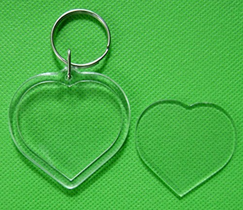 10pcs Clear Acrylic Blank Photo Picture Frame Keychain Keyring Insert (heart)