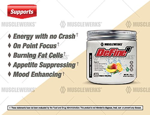 DeFine8: Fat Burner, Pre-Workout Thermogenic - Mango Orange - NEW ADVANCED FORMULA, Appetite Suppressant, Boosts Metabolism & Curbs Sweet Cravings for Weight Loss. 30 Servings