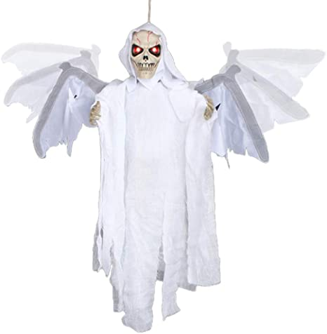 Animated Skeleton with LED Glowing Eyes and Voice Activated Scary Skeleton Props for Window Wall and Outdoor Indoor Yard Patio House Decor ESSENSON Halloween Decorations Hanging Ghost