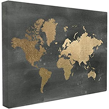 Amazoncom Stupell Home Décor Black And Gold World Map Stretched - Black and gold world map