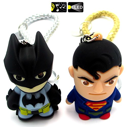 """FASHION ALICE 2pcs Hot Movie Batman Superman, 2.4"""" Action Figure LED Key chain Ring,Pendant,Accessories,Keys Pendant, Jewelry Accessories,Christmas Valentine Gift,Hide Rope,Light and Sound"""
