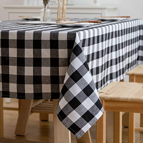 Aquazolax Black and White Buffalo Check Tablecloths Country Farmhouse Square Table Covers for Family Dinner Gatherings, 54 inch Square in Black (Tablecloth Black White Christmas And)