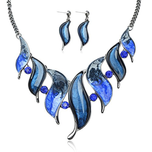 - Tagoo Vintage Bridal Jewelry Set Pendant Statement Necklace Drop Earrings Set in Swarovski Elements Crystal Rhinestone Resin Anti-Allergic Wedding/Party/Bouquet (116-Sea Blue)