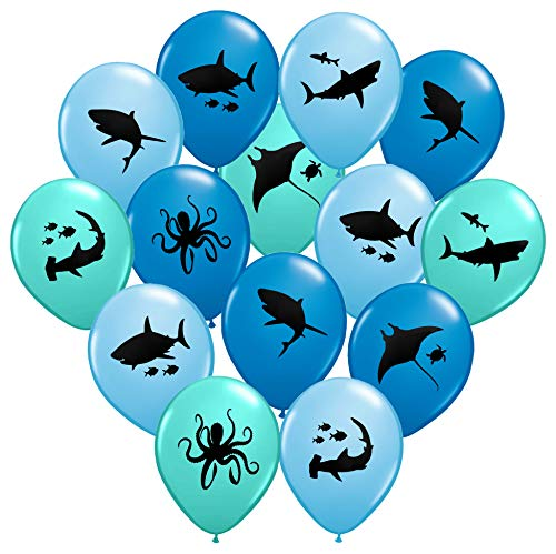 Gypsy Jade's Shark Balloons - Great For Shark Themed Birthday Parties, Shark Week Parties or Under-The-Sea gatherings - Package of 36 - Big 12