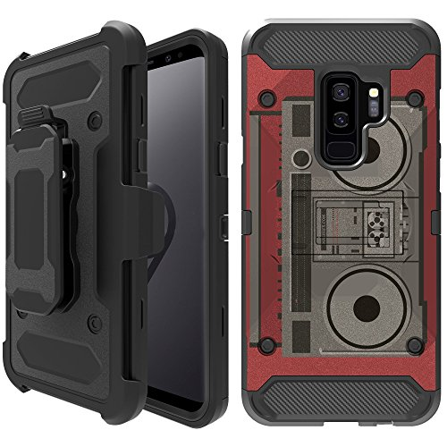 Untouchble Case Compatible with Samsung Galaxy S9, S9 Holster Case [TANK SERIES] Unique Design Heavy Duty Cover Shell with Kickstand Holster Belt Clip Combo - Boombox Retro
