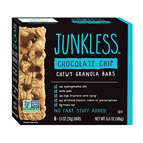 Junkless Chewy Granola Bars, Chocolate Chip, 1.1 Ounce (6 Bars) Non GMO, Low Sugar, Great Tasting