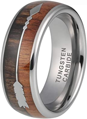 Onlylove Jewelry 8mm Mens Tungsten Rings Womens Wedding Bands Koa