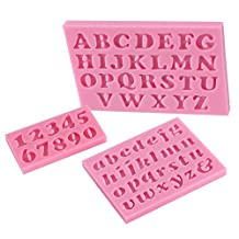 C-Pioneer 3pcs DIY Mini Silicone Letter & Number Handmade Fondant Cake Decorating Mould