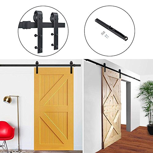 Top Hahaemall 9FT/108'' Barn Door Hardware Sliding Double Wood Door Steel Track Hardware with Soft Close Kit (J-Shape Hanger) free shipping