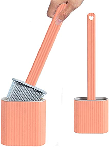 Ambolio Escobilla de Ba/ño Silicona,Silicone Flex Toilet Brush,Juego de Cepillo Limpiador de Inodoro Plano,escobilla de ba/ño Silicona Plana,Cepillo de Silicona Creativo para Inodoro Azul