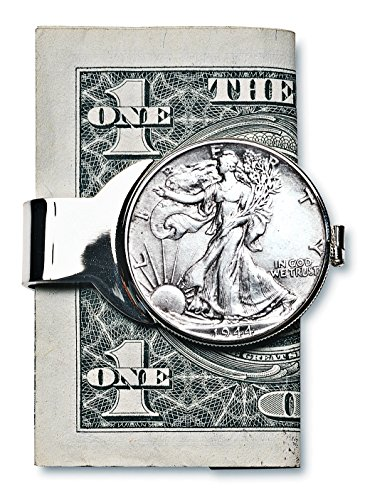 Coin Money Clip - Silver Walking Liberty Half Dollar | Brass Moneyclip Layered in Silver-Tone Rhodium | Holds Currency, Credit Cards, Cash | Genuine U.S. Coin | Certificate of Authenticity ()