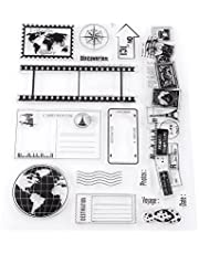 Akozon Clear Stamp Scrapbook Photo Cards Postcards 14x18cm Rubber Seal Silicone Stamps