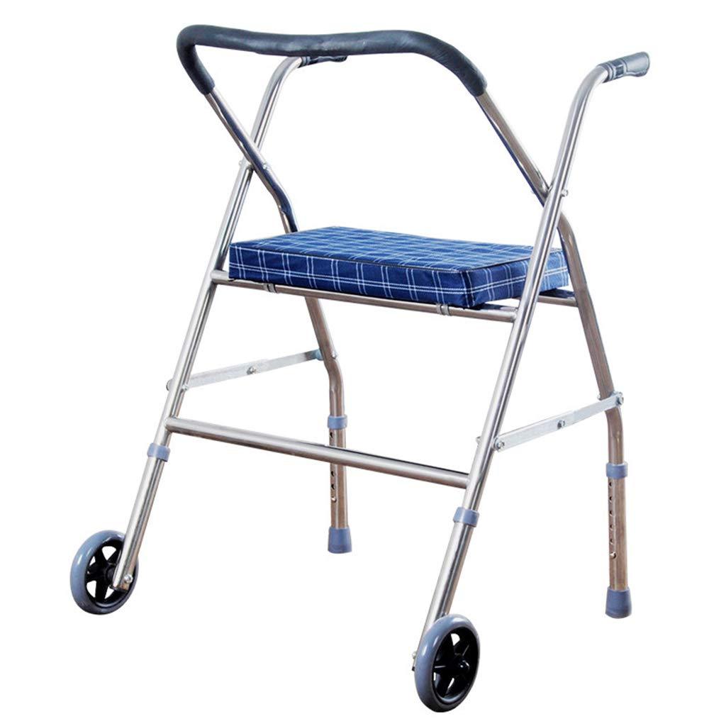 SXD 指向性前輪と柔らかい座席を備えたステンレススチールウォーカー、高齢者とリハビリを受けた人々のための高齢者用ウォーカーとウォーカー用トロリー   B07T8M118K