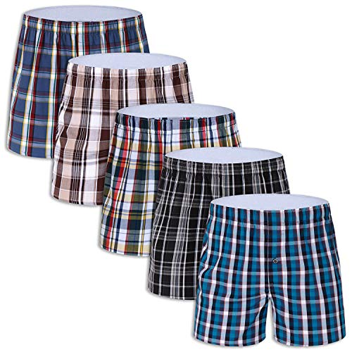5-Pack Men's Colorful Woven Boxers Underwear 100% Cotton Premium Quality Shorts Tag-Free,Size X-Large