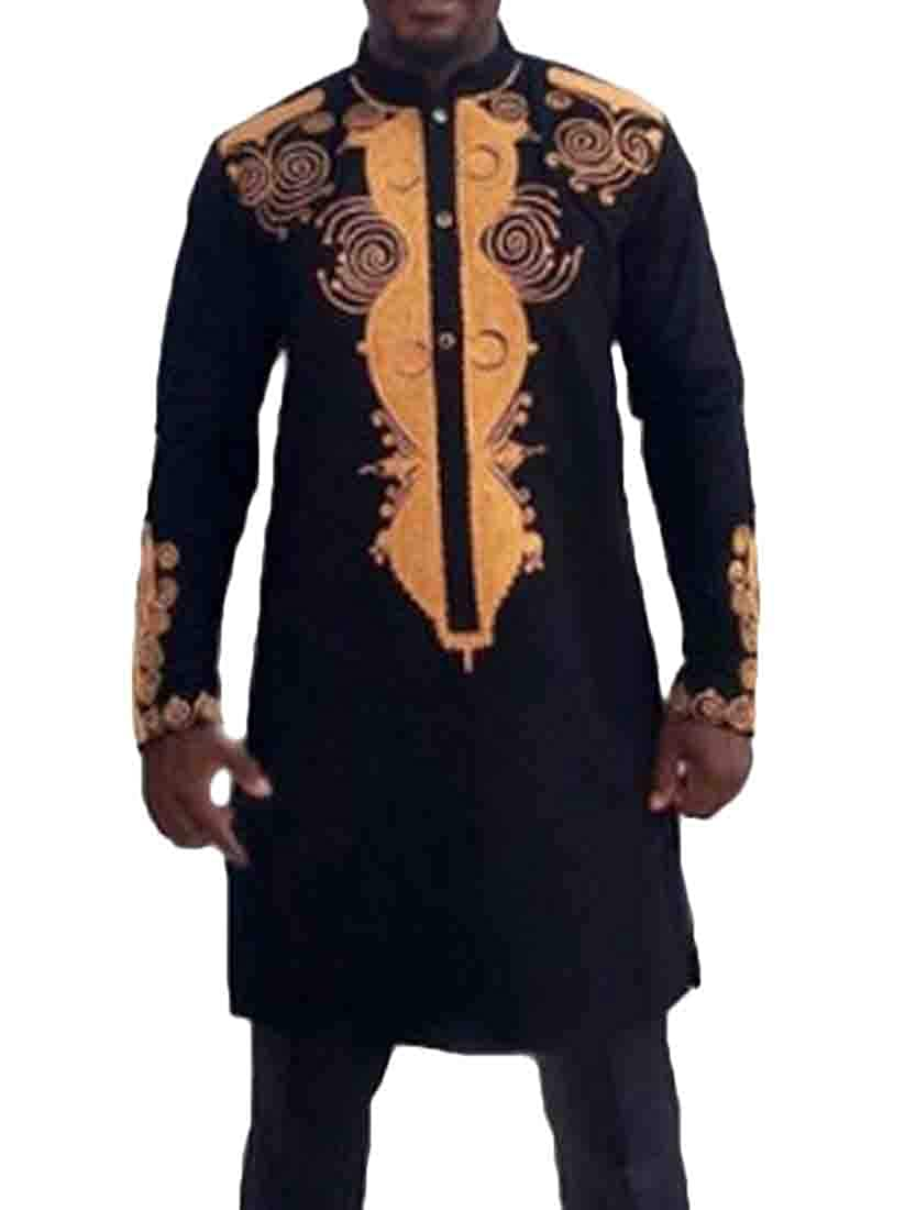 BYWX Men Long Slimming Pullover African Printed Long Sleeve Shirts