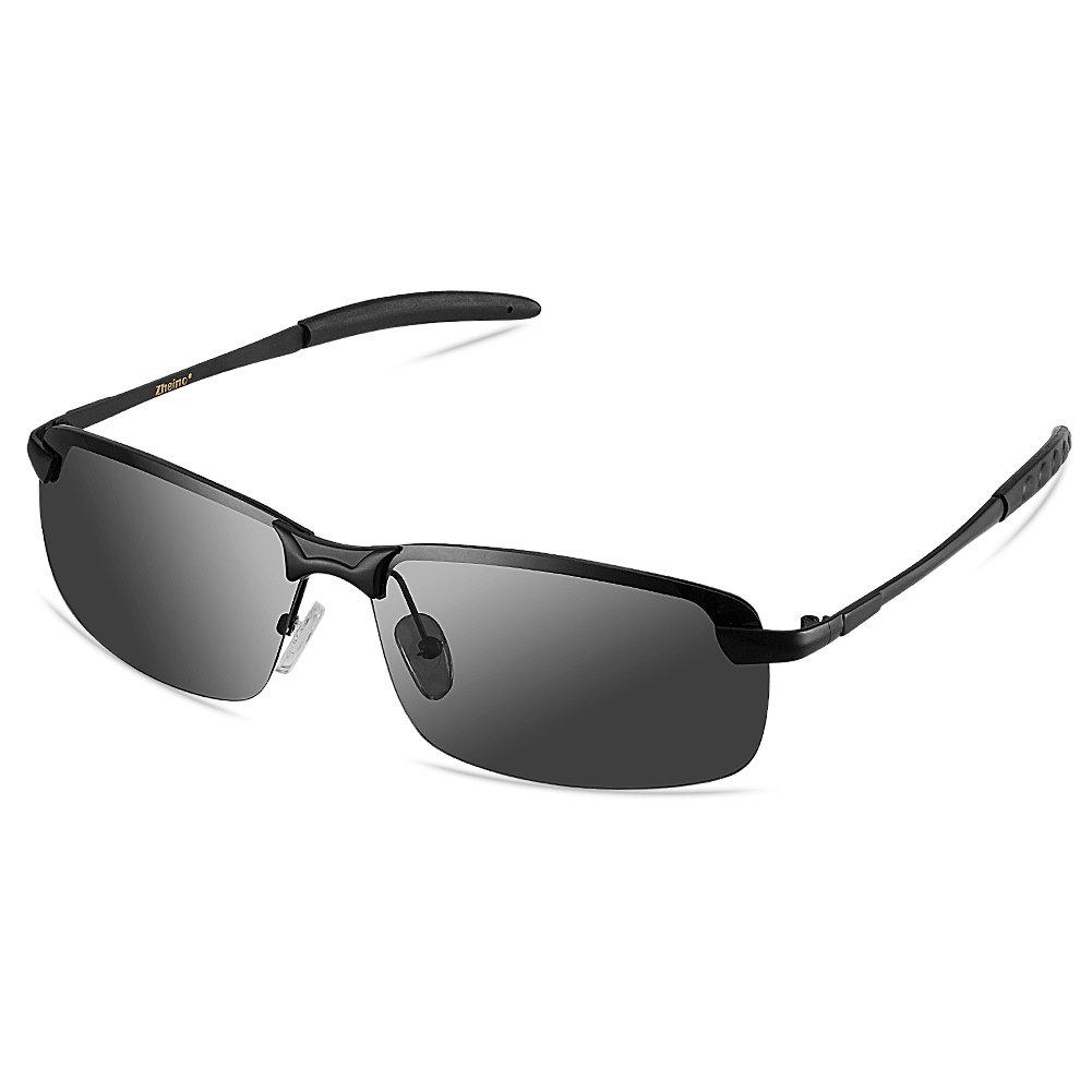 Zheino HD de vision nocturne lunettes de soleil polarisées, UV400 anti-éblouissement conduite lunettes de soleil polarisées Gris