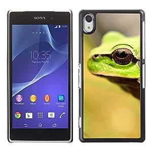 Qstar Arte & diseño plástico duro Fundas Cover Cubre Hard Case Cover para SONY Xperia Z2 / D6502 / D6503 / D6543 / L50W / L50t / L50u ( Frog Eye Cute Blurry Summer Sun Forest)
