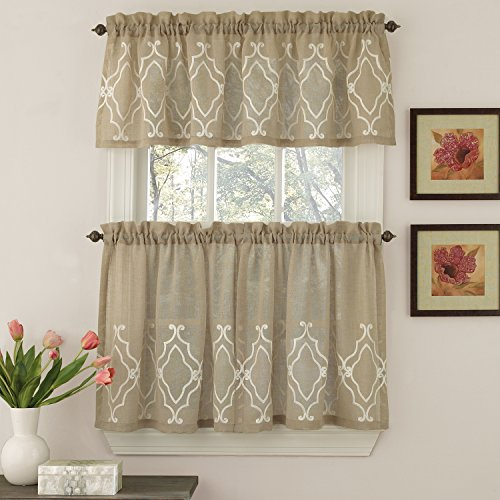 Sweet Home Collection 3 Pc Kitchen Curtain Set - Valance and Choice of 24