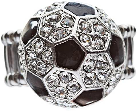 Sport Soccer Ball Crystal Rhinestone 20mm Stretch Adjustable Ring Silver Clear