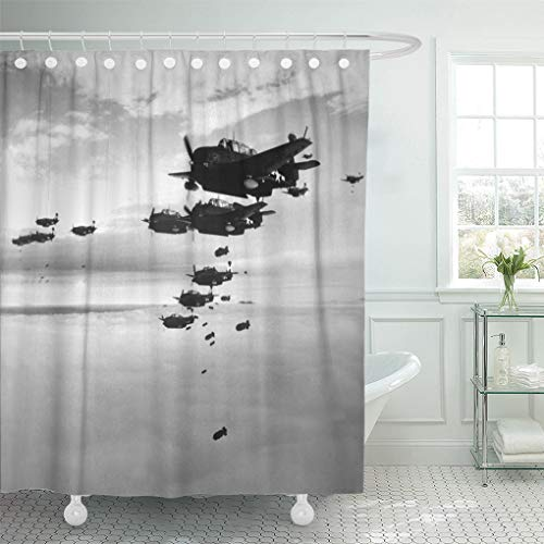 Semtomn Shower Curtain Planes from The USS Essex Aircraft Carrier Dropping Bombs Shower Curtains Sets with 12 Hooks 72 x 72 Inches Waterproof Polyester Fabric