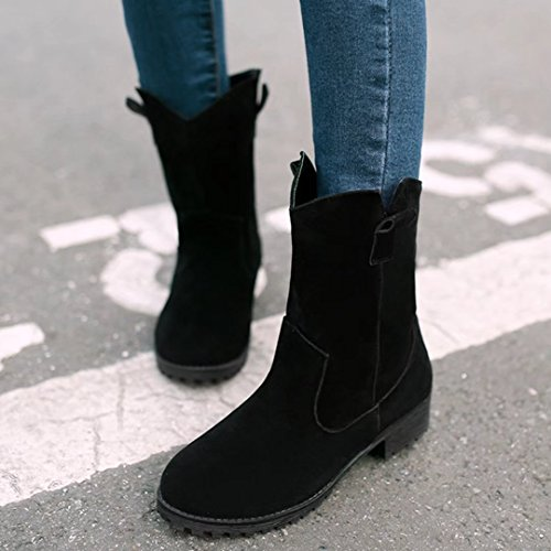 AIYOUMEI Womens Round Toe Low Heel Bootie Autumn Winter Ankle Boots Black QC8eBc