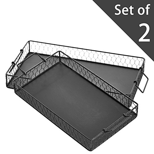MyGift Set of 2 Chicken Wire Country Design Black Metal Mesh Rectangular Decorative Trays with (Black Mesh Coffee Table)