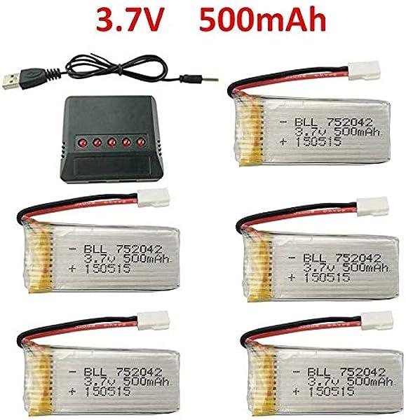 Fytoo 5pcs 3.7V 500mAh 25C Batería y 5-1 Cargador para JJRC H31 H37 H6D Hubsan X4 FPV H107C H107D H107L H107P H108 JXD392 JXD388 JXD385 UDI U816A SYMA X5C X5SW HS170 HS170C