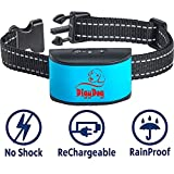 {2018 NEW CHIP} RECHARGEABLE No Bark Collar for dogs - NO SHOCK Safe Bark Control Training Collar For Small Dogs And Medium Dogs 6-80 lbs