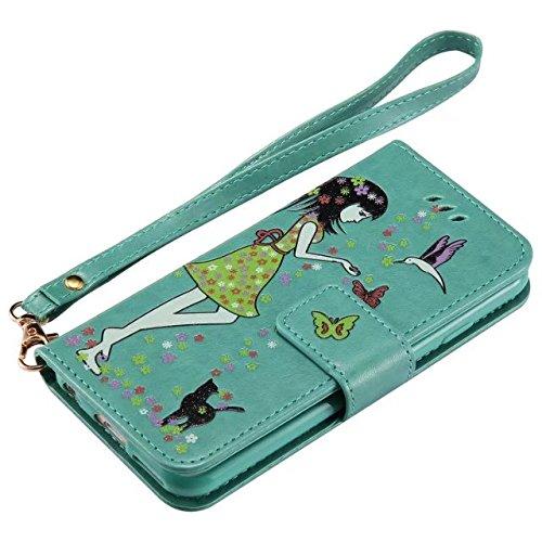 JIALUN-carcasa de telefono Caja de cuero de la PU, caso de la cubierta del monedero de la carpeta con Lumious Shining Effect & Lanyard & Holder para el iPhone 6 y 6s ( Color : Rose-gold ) Green
