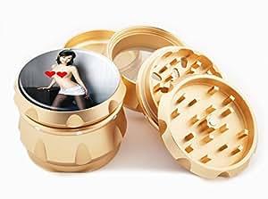 "Asian Girl Design Premium Grade Aluminum Tobacco,Herb Grinder -4Pcs Large (2.5"" Gold) # GLD-G121114-0010"