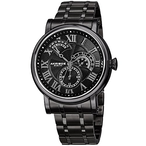 Akribos XXIV Elegant Black Stainless Steel Men's Watch –Analog Quartz – AK1001BK ()