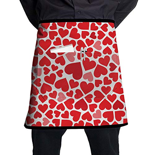 - ALLMYHOMEDECOR Valentine's Day Love Hearts Waist Aprons Bib Mens Womens Adjustable Polyester Cooking Gardening BBQ Kitchen Chef Apron for Outdoor Serving Grill Restaurant Cleaning Baking Crafting