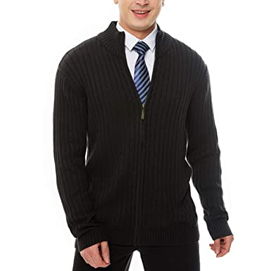 794d71c5933 APRAW Men s Casual Slim Fit Sweaters with Zipper Cotton Knitted Cardigan  Black