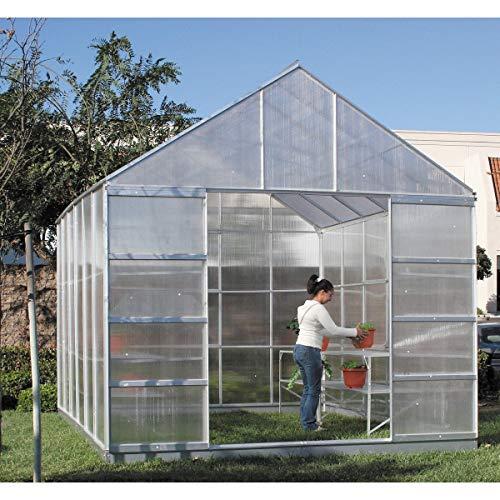 12 X 10 Polycarbonate Aluminum Framed Steel Base Greenhouse