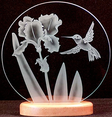 Iris Circle (Carved Glass Hummingbird and Iris 9 in. Circle in Handcrafted Wooden Base)