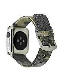 MeShow TCSHOW 42mm Canvas Cotton Fabrics Woven Wrist Replacement Strap Bracelet Wristband with Adapter Compatible for Apple Watch Series 1/2/3 Sport & Edition