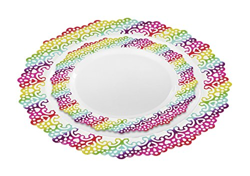 Elegant Disposable Plastic Dinnerware Plates, Hard & Reusable, Real China Look - Party Package Set - Includes 10