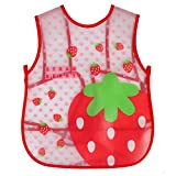 LABANCA Baby Toddler Cartoon Sleeveless Waterproof Stay-dry Bib Red Strawberry