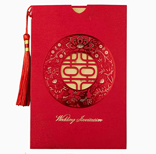 - 100x Chinese Double Happiness Tassel Red Laser Cutting Wedding Invitations Cards with Ribbon Spike, Envelopes