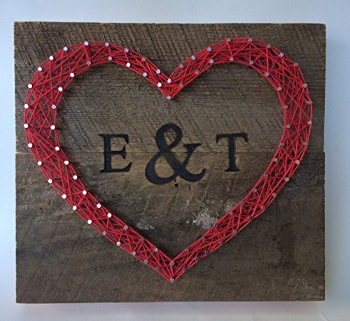 Custom red reclaimed wooden heart sign with branded initials. A special and unique gift for weddings, lovers and more. Rustic and sweet 5 Year Anniversary Gift. Two day shipping for $11.19!