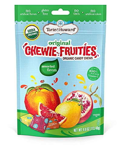 Torie & Howard Chewie Fruities Organic Candy Assorted Flavors, 4 Ounce Bag (4 pack)