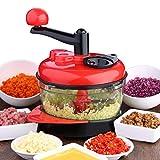 Meat Vegetable Chopper, Elevin(TM) Multi-function Kitchen Tools Manual Food Processor Meat Grinder Vegetable Chopper Mincers (Red)