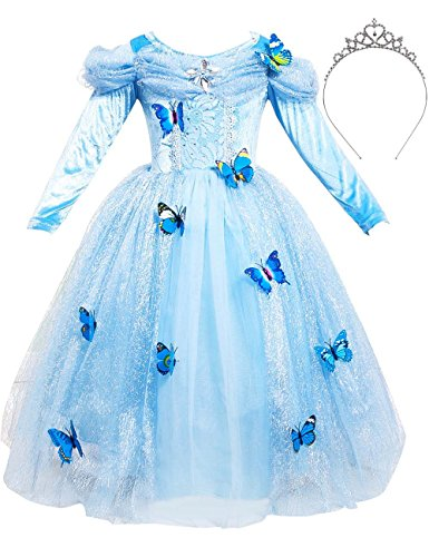 Cinderella's Wedding Dress Costume (JYH Girls' New Cinderella Princess Long Sleeve Dress Butterfly Party Costumes with Crown)