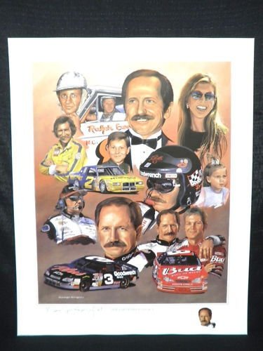 DALE EARNHARDT Legacy Lithograph signed by Artist GEORGE WRIGHT NASCAR Poster Print