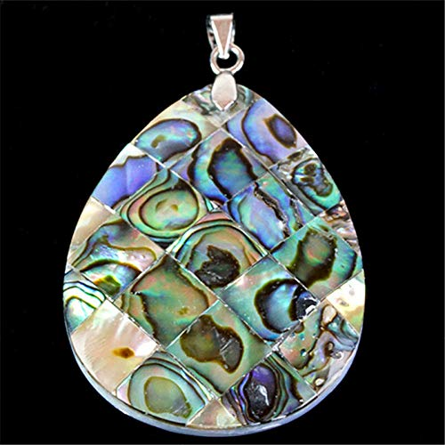 FidgetKute CH003 40x30x5mm Natural Abalone Shell Carved Teardrop Pendant Bead Show One Size