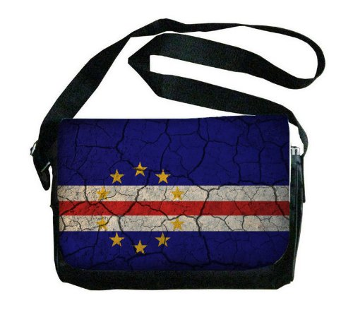 Cape Verde Flag Crackledデザインメッセンジャーバッグ   B00FMFJS6K