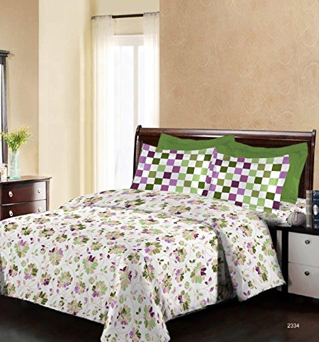 Bombay Dyeing Engracia 144 TC Cotton Double Bedsheet with 2 Pillow Covers – Beige.