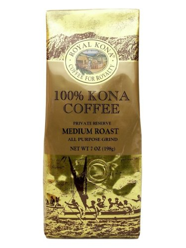100% Kona Coffee Private Reserve Ground 7 oz (4 bag value pack) by Royal Kona