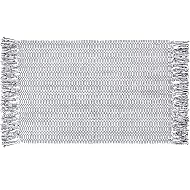 Ojia Woven Cotton Rag Rug Hand Woven Area Runner for Entryway Laundry Room Kitchen Bathroom Bedroom Dorm (2 x 4 ft, Light Grey)