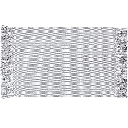 (Ojia Woven Cotton Rag Rug Hand Woven Area Runner for Entryway Laundry Room Kitchen Bathroom Bedroom Dorm (2 x 3 ft, Light Grey))